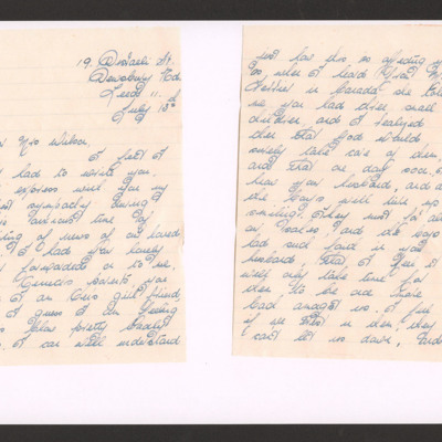 Letter to Mrs Wilson from Margaret Wright
